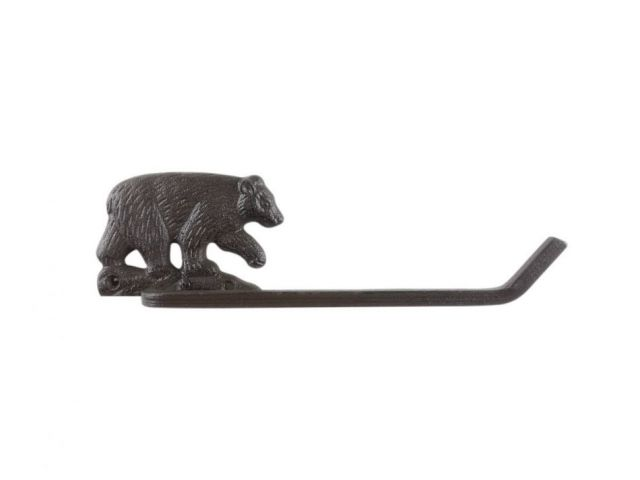 Cast Iron Black Bear Bathroom Toilet Paper Holder 10