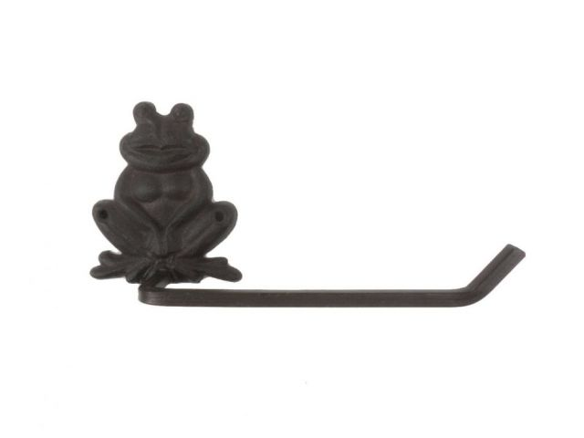 Cast Iron Happy Sitting Frog Bathroom Toilet Paper Holder 10