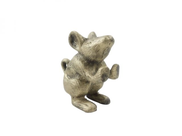 Rustic Gold Cast Iron Mouse Door Stopper 5