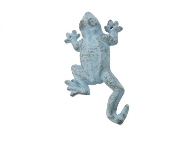 Rustic Light Blue Cast Iron Frog Hook 6