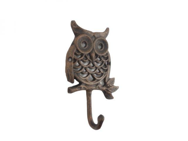 Rustic Copper Cast Iron Owl Hook 6