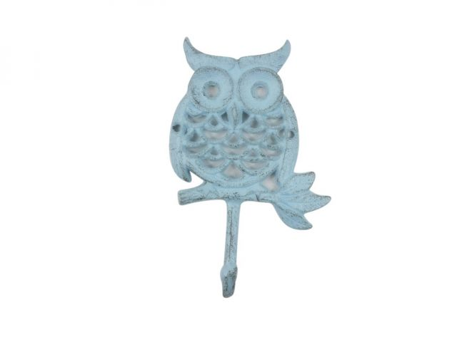 Rustic Light Blue Cast Iron Owl Hook 6