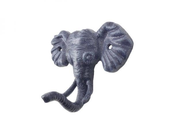 Rustic Dark Blue Cast Iron Elephant Hook 5