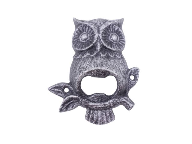 Rustic Silver Cast Iron Owl Wall Mounted Bottle Opener 6