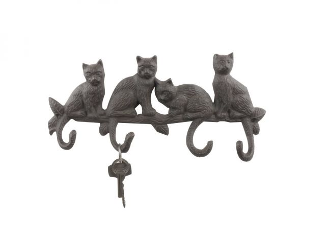 Cast Iron Sitting Cat Family Decorative Metal Wall Hooks 11
