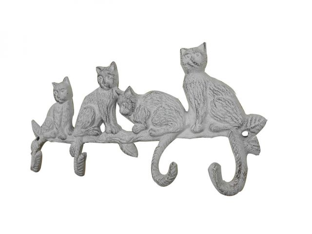 Whitewashed Cast Iron Sitting Cat Family Decorative Metal Wall Hooks 11