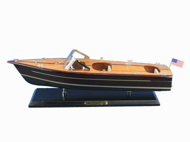 Wooden Chris Craft Triple Cockpit Model Speedboat 20