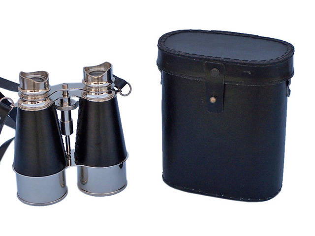 Admirals Chrome Binoculars with Leather Case 6