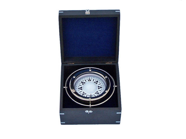 Chrome Gimbal Compass with Black Rosewood Box 9