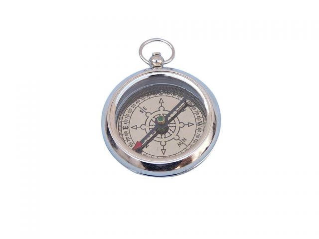 Chrome RMS Titanic White Star Lines Pocket Compass 3