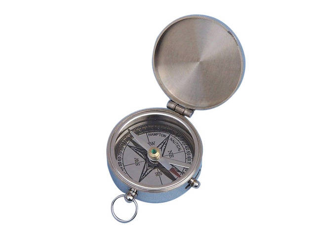 Chrome Lewis and Clark Pocket Compass 3
