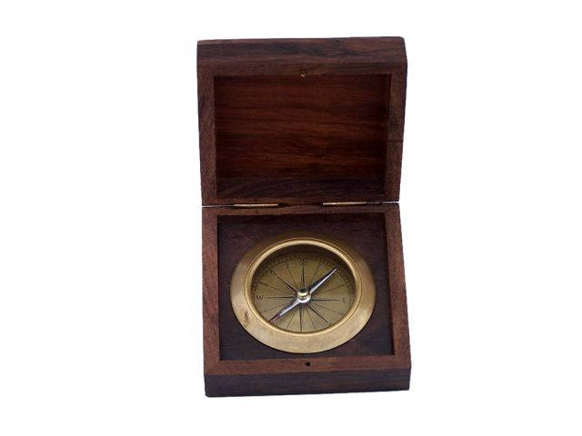 Antique Brass Captains Desk Compass with Rosewood Box 4