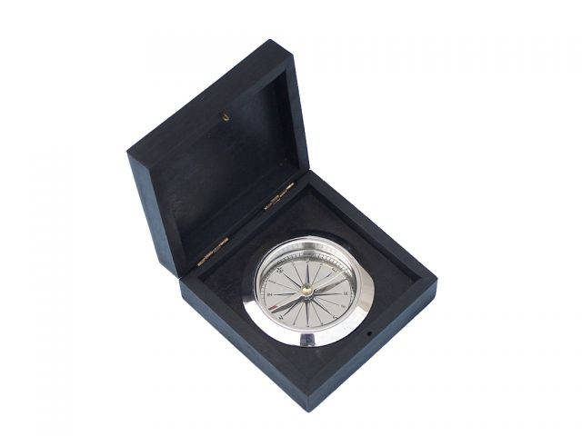 Chrome Captainandapos;s Desk Compass w- Black Rosewood Box 4