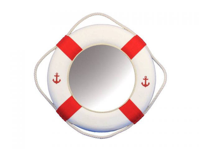 Classic White Decorative Anchor Lifering Mirror With Red Bands 15