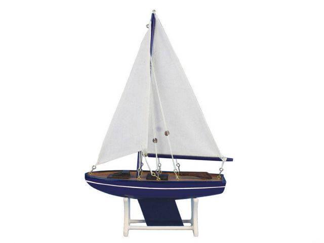 Wooden It Floats Blue Tide Model Sailboat 12