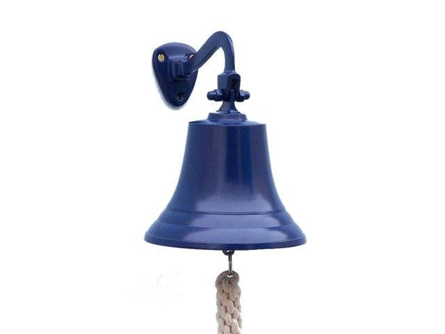 Solid Brass Hanging Ships Bell 9 - Blue Powder Coated