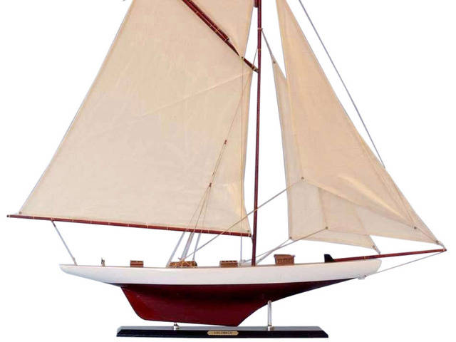 Wooden Columbia Model Sailboat Decoration 45