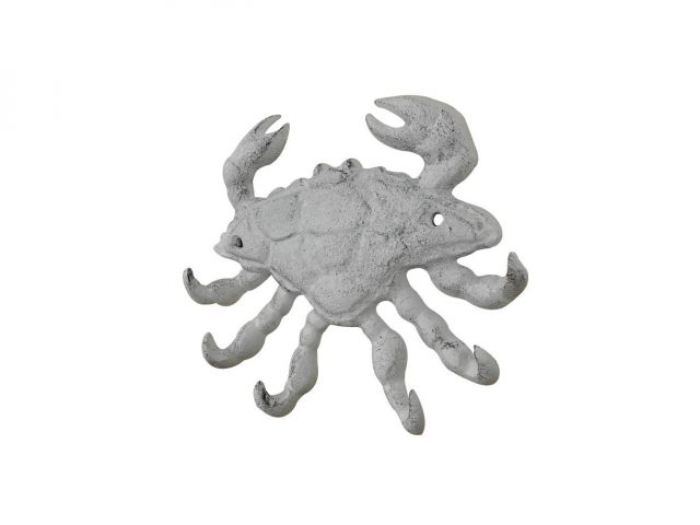 Whitewashed Cast Iron Decorative Crab with Six Metal Wall Hooks 7