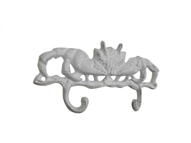 Whitewashed Cast Iron Decorative Crab Metal Wall Hooks 10.5