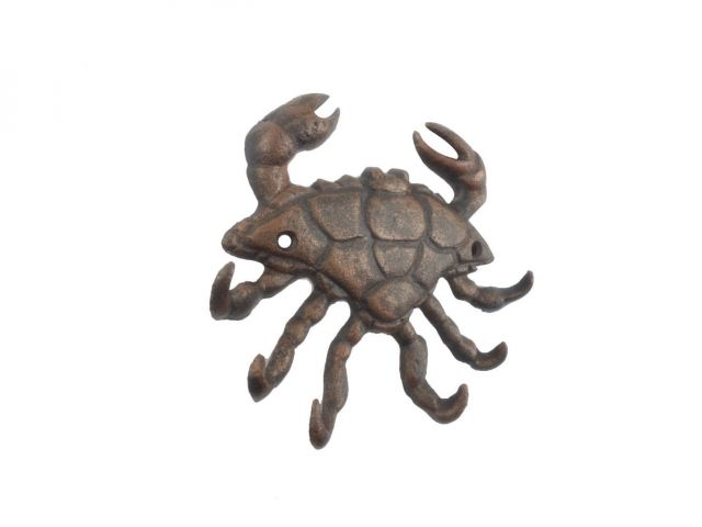 Rustic Copper Cast Iron Decorative Crab with Six Metal Wall Hooks 7