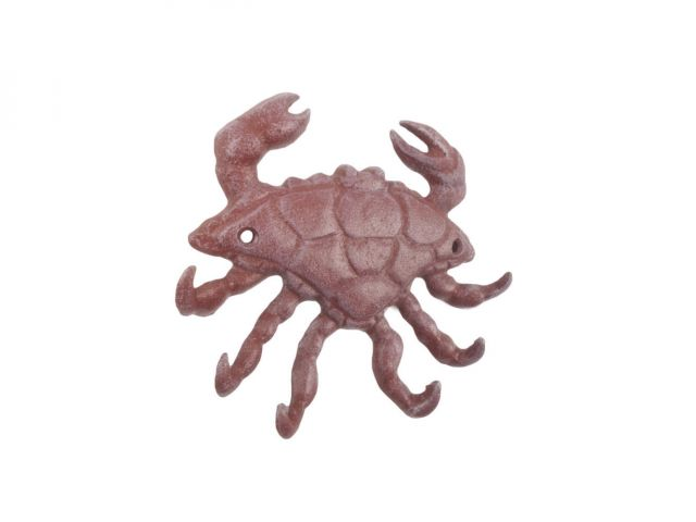 Red Whitewashed Cast Iron Decorative Crab with Six Metal Wall Hooks 7