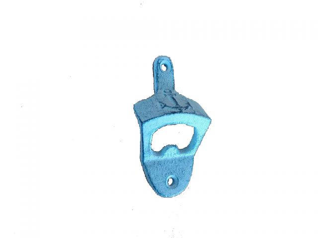 Rustic Dark Blue Whitewashed Cast Iron Wall Mounted Anchor Bottle Opener 3