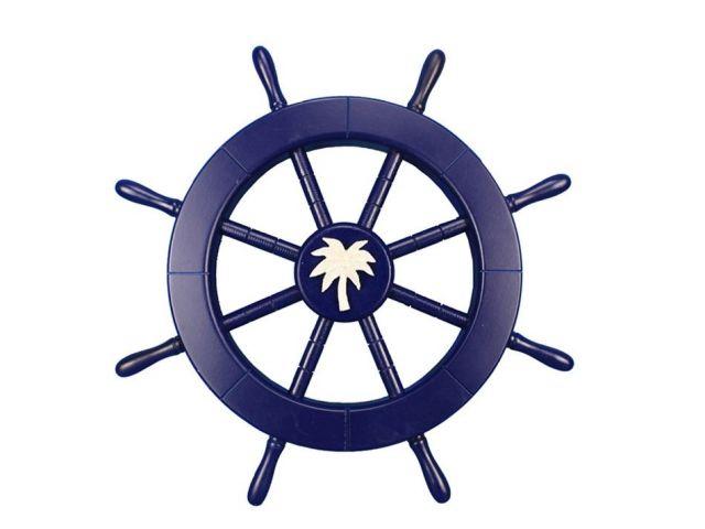 Dark Blue Decorative Ship Wheel with Palm Tree 18