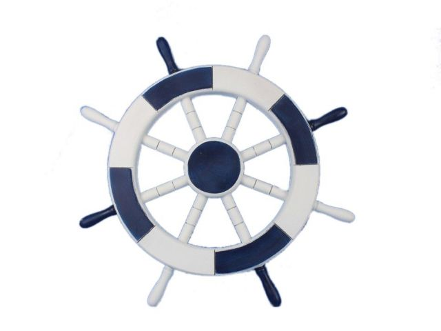 Dark Blue and White Decorative Ship Wheel 18