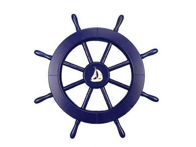 Dark Blue Decorative Ship Wheel with Sailboat 18