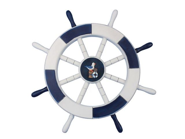 Dark Blue and White Decorative Ship Wheel with Seagull and Lifering 18