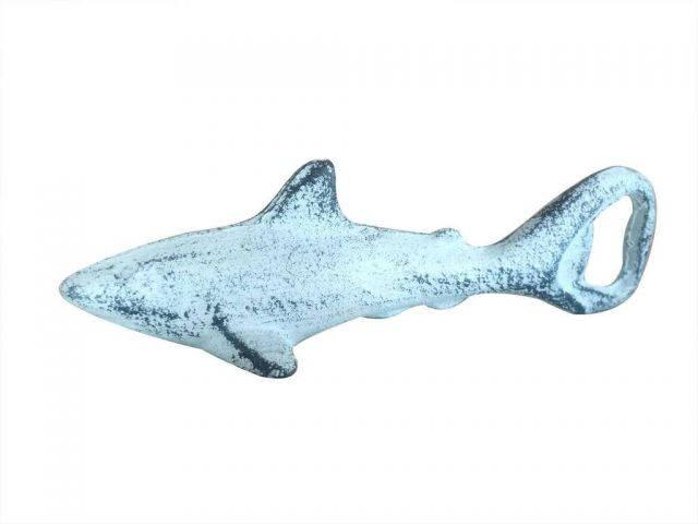 Dark Blue Whitewashed Cast Iron Shark Bottle Opener 6