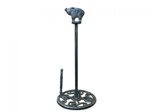 Rustic Silver Cast Iron Pig Paper Towel Holder 15