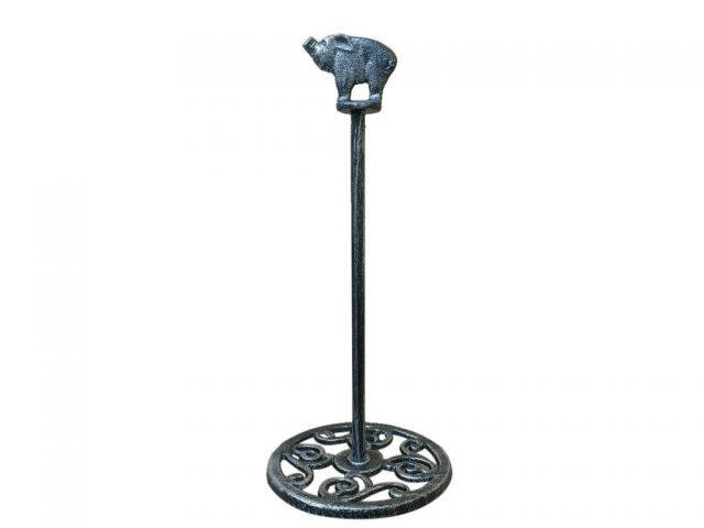 Rustic Silver Cast Iron Pig Extra Toilet Paper Stand 15