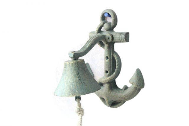 Antique Bronze Cast Iron Wall Mounted Anchor Bell 8