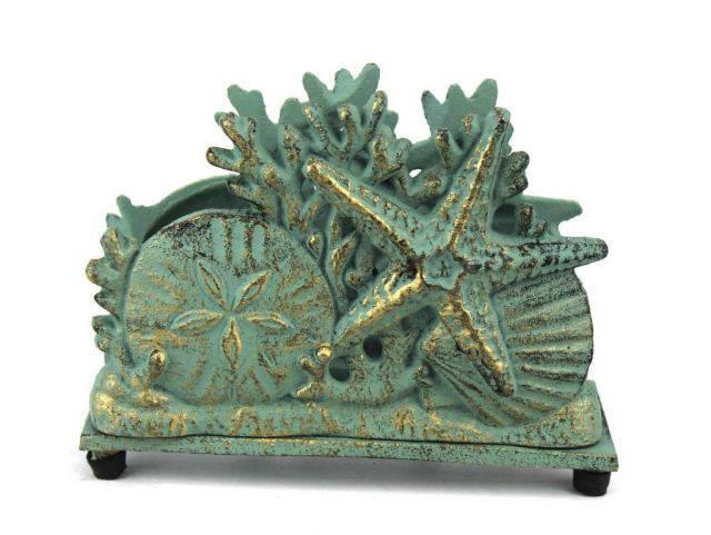 Antique Bronze Cast Iron Seashell Napkin Holder 7