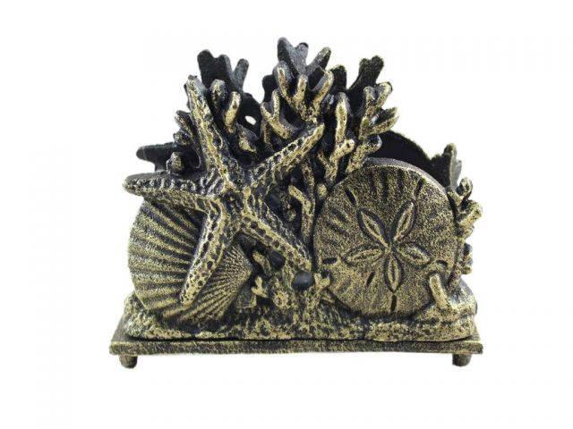 Antique Gold Cast Iron Seashell Napkin Holder 7