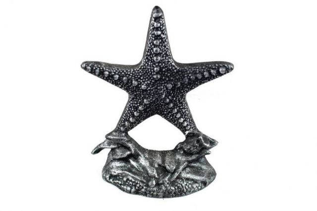 Set of 2- Antique Silver Cast Iron Starfish Book Ends 11