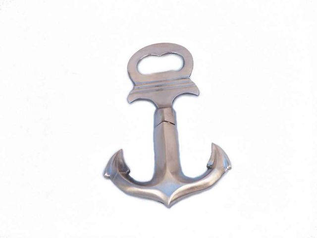 Brushed Nickel Anchor Cork Screw Bottle Opener 6