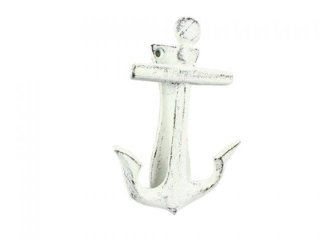 Rustic Whitewashed Cast Iron Decorative Anchor Door Knocker 6
