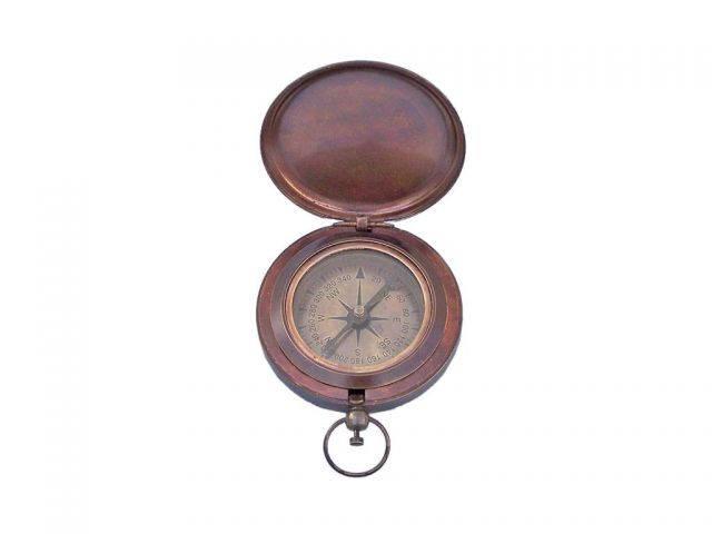 Antique Copper Captains Push Button Compass 3