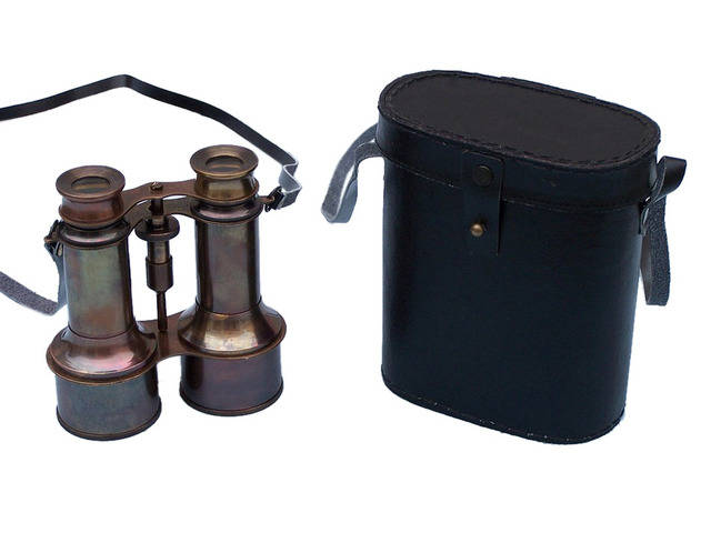 Commanders Antique Copper Binoculars with Leather Case 6