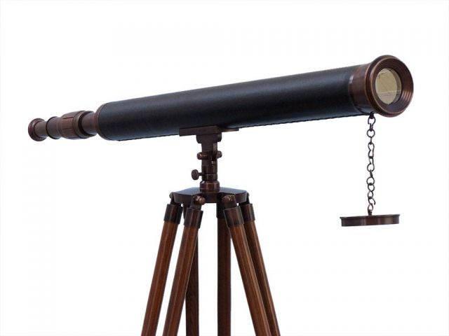 Floor Standing Antique Copper with Leather Harbor Master Telescope 60