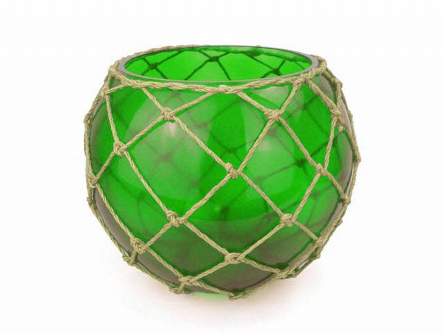 Green Japanese Glass Fishing Float Bowl with Decorative Brown Fish Netting 10