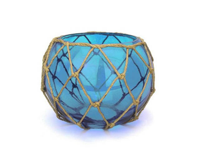 Light Blue Japanese Glass Fishing Float Bowl with Decorative Brown Fish Netting 8