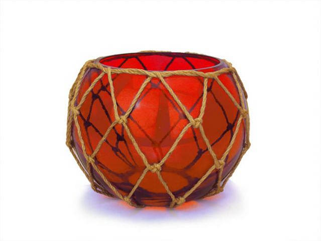 Red Japanese Glass Fishing Float Bowl with Decorative Brown Fish Netting 8