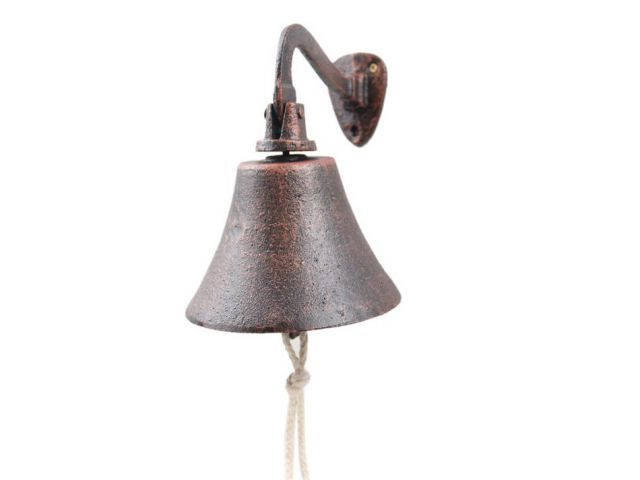 Rustic Copper Cast Iron Hanging Ships Bell 6