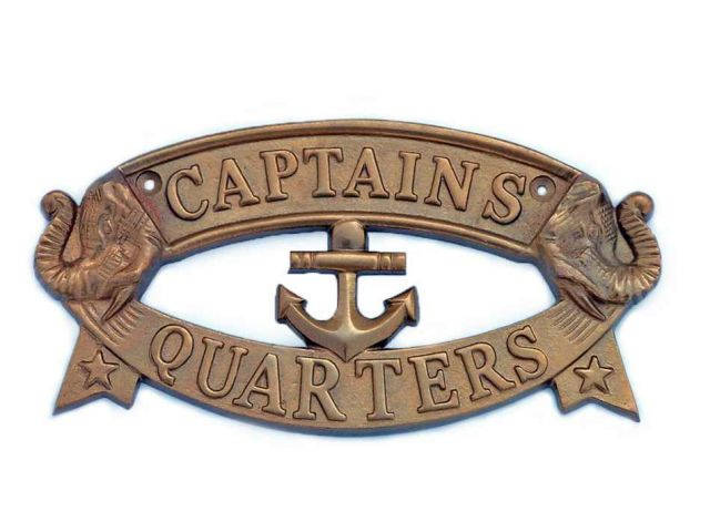 Antique Brass Captainandapos;s Quarters Sign 9