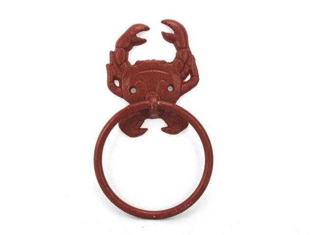 Red Whitewashed Cast Iron Crab Towel Holder 8