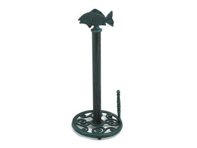 Seaworn Blue Cast Iron Fish Paper Towel Holder 15