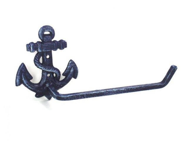 Rustic Dark Blue Cast Iron Anchor Toilet Paper Holder 10